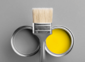 Gray and yellow paint